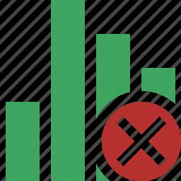 analytics, bar, cancel, chart, graph, report, statistics icon