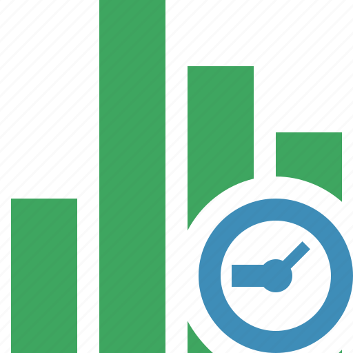 analytics, bar, chart, clock, graph, report, statistics icon