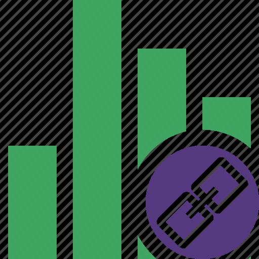analytics, bar, chart, graph, link, report, statistics icon