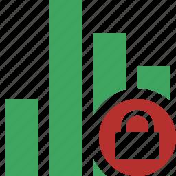 analytics, bar, chart, graph, lock, report, statistics icon