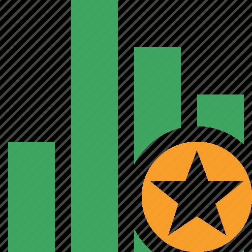analytics, bar, chart, graph, report, star, statistics icon