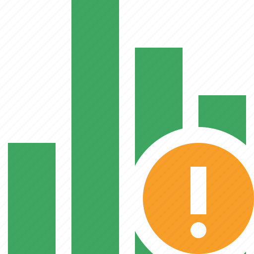 analytics, bar, chart, graph, report, statistics, warning icon