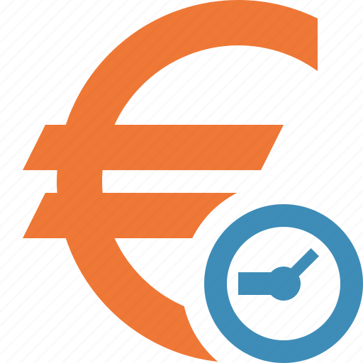 business, cash, clock, currency, euro, finance, money icon