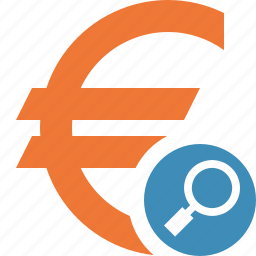 business, cash, currency, euro, finance, money, search icon
