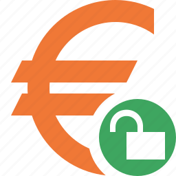 business, cash, currency, euro, finance, money, unlock icon