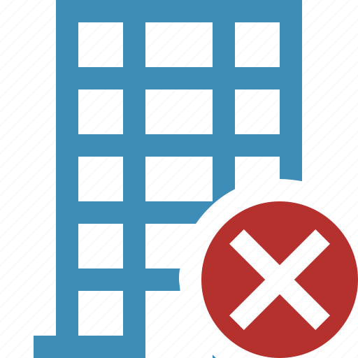 building, business, cancel, company, estate, house, office icon