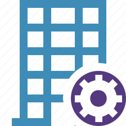 building, business, company, estate, house, office, settings icon