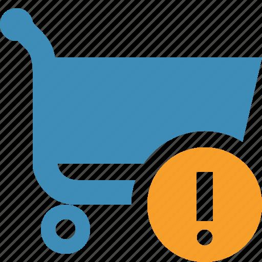 buy, cart, ecommerce, shop, shopping, warning icon