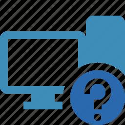 computer, desktop, help, monitor, server icon