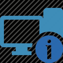 computer, desktop, information, monitor, server icon