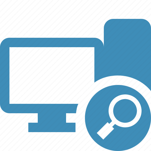 computer, desktop, monitor, search, server icon