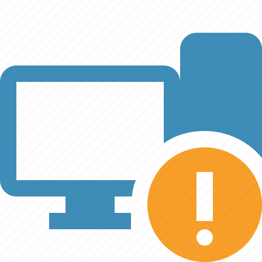 computer, desktop, monitor, server, warning icon
