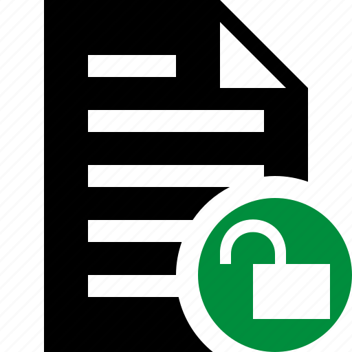 document, file, paper, text, unlock icon