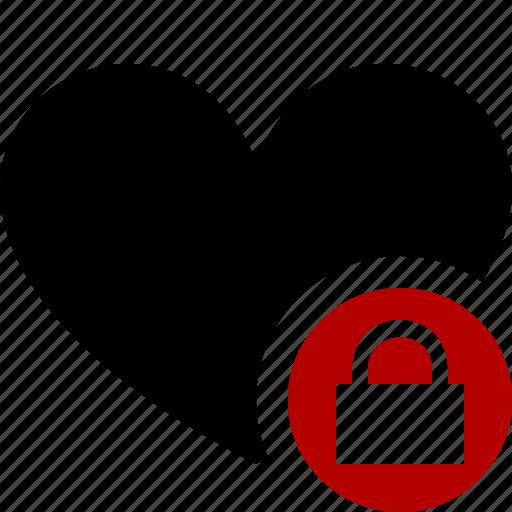 bookmark, favorites, heart, like, lock, love icon