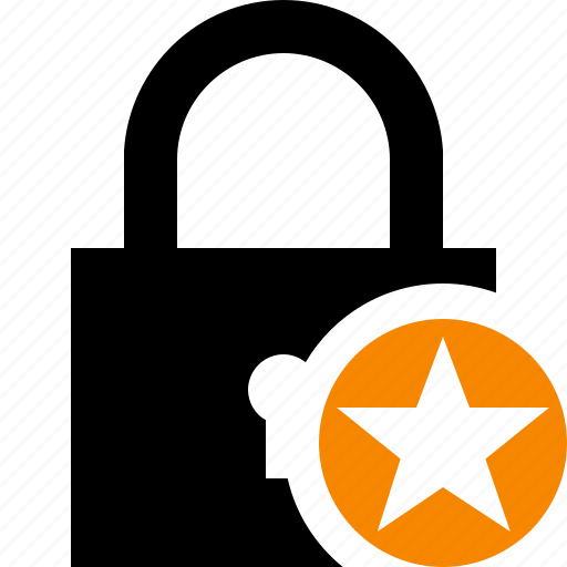 access, lock, password, protection, secure, star icon