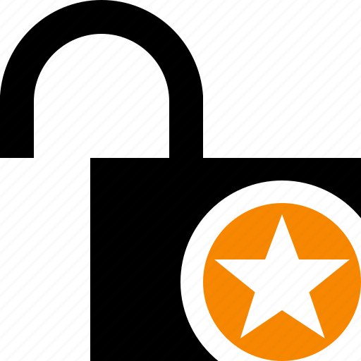 access, password, protection, secure, star, unlock icon
