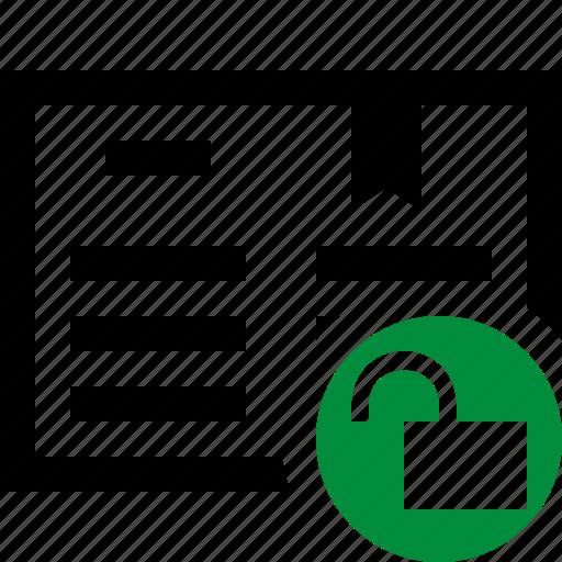 address, book, bookmark, reading, unlock icon