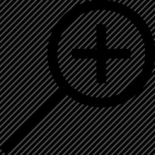 magnifier, plus, search icon