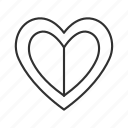 broken heart, heart, heart with line across, love, outline heart, sad, values icon