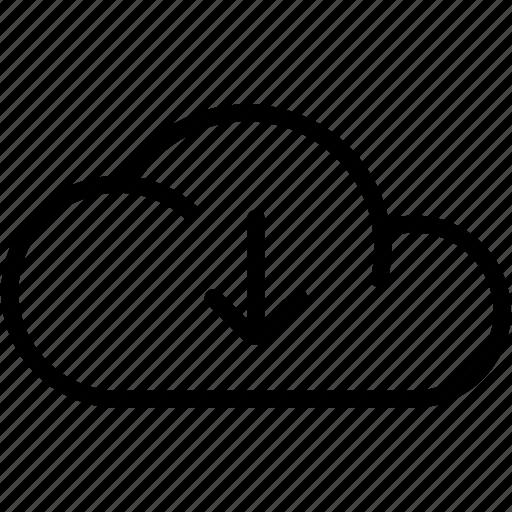 arrow, cloud, data, downloading, guardar, save icon