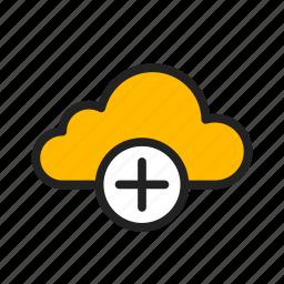 add, add cloud, cloud, icloud, plus icon
