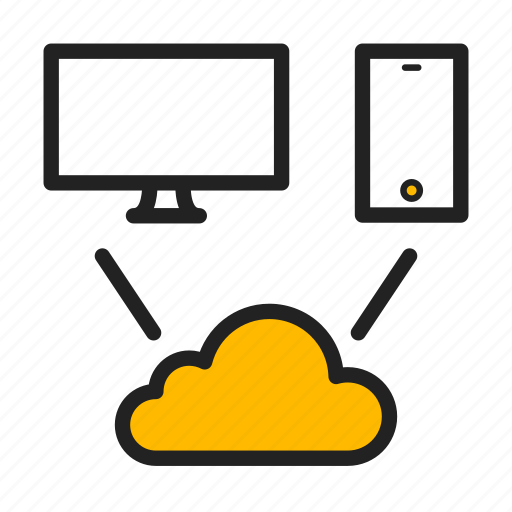 cloud, icloud, imac, phone, sync, synchronization icon