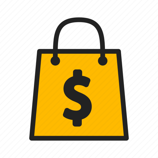 dollar, package, purchases, shopping icon