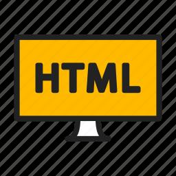 code, html, imac, monitor icon