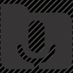 audio, camera, document, documents, folder, mic icon