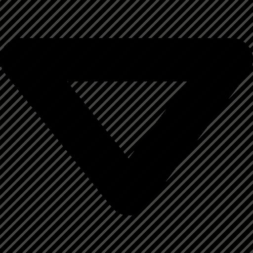 arrow, down, inversed triangle, triangle icon