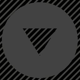 arrow, bottom, down, navigation, round, ui icon