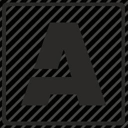 a, alphabet, border, latin, letter, modern icon