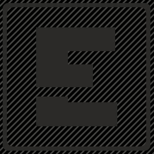 alphabet, e, latin, letter, modern icon