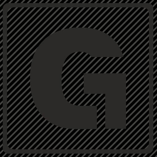 alphabet, g, latin, letter, modern icon