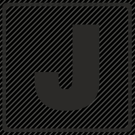 alphabet, j, latin, letter, modern icon