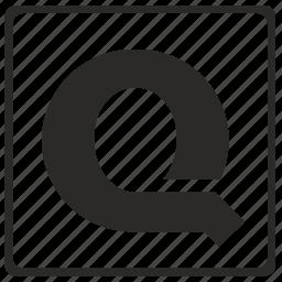 alphabet, latin, letter, modern, q icon