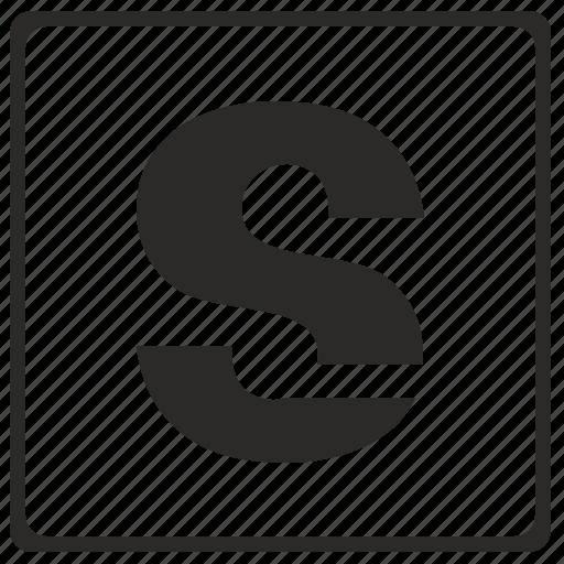 alphabet, latin, letter, modern, s icon