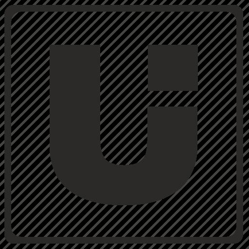 alphabet, latin, letter, modern, u icon