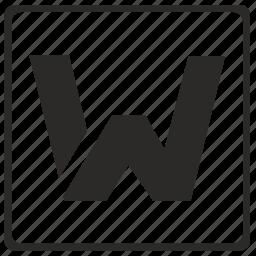 alphabet, latin, letter, modern, w icon