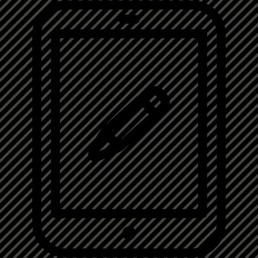 edit, ipad, pencil, tablet, write icon