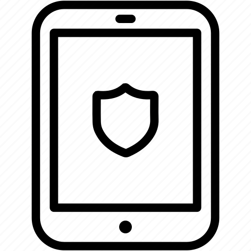 privacy, protect, safety, secure, security, shield, tablet icon