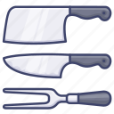 carving, chopper, fork, knife icon