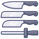 kitchen, set, knife, chef icon