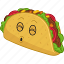cartoon, emoji, emoticon, food, smiley, taco icon