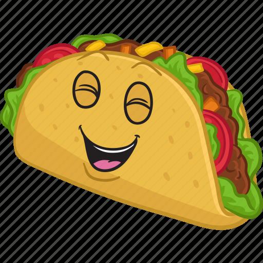 cartoon, emoji, emoticon, food, smiley, taco icon