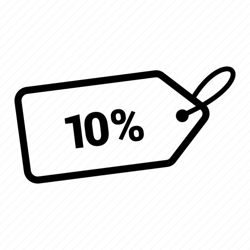 coupen, discount, offer, pricing, sale, tag, ten percent icon