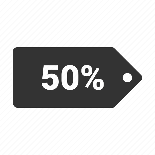 coupen, discount, fifty percent, offer, pricing, sale, tag icon