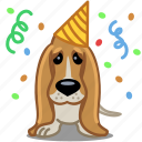 birthday, dog, party, pet, sad icon