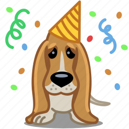 animal, birthday, dog, emotion, party, pet, sad icon