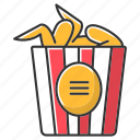 chicken wings, color, fast food, fried, paper bucket, snack, takeaway icon